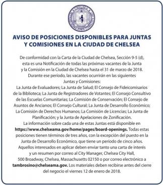 Aviso De Posiciones Disponibles Para Juntas Y Comisiones En La Ciudad De Chelsea