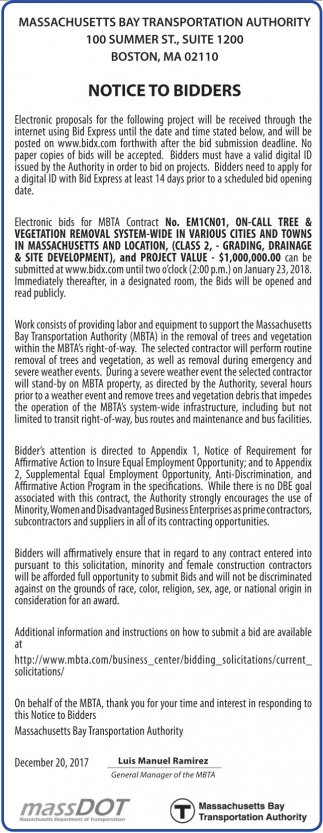 Notice to Bidders