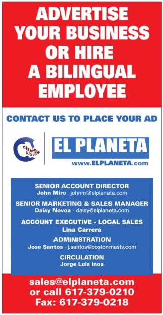 Advertise Your Business or Hire a Bilingual Emplouee