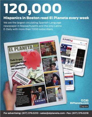 120,000 Hispanics in Boston read El Planeta every wee