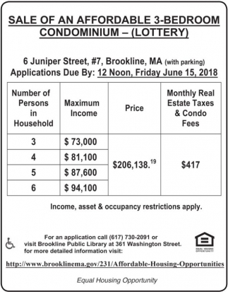 Sale of an Affordable 3-Bedroom Condominium