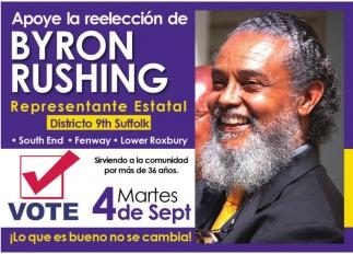 Apoye la Reeleccion de Byron Rushing