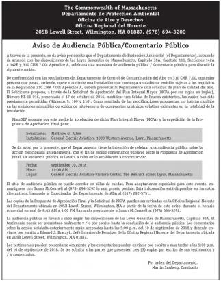 Aviso de Audiencia Publica / Comentario Publico