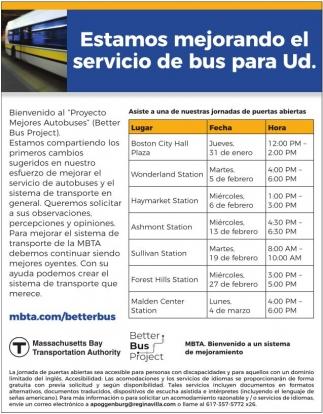 Estamos Mejorando el Servicio de Bus para Ud