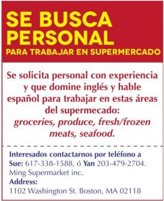Se Busca Personal para Trabajar en Supermercado