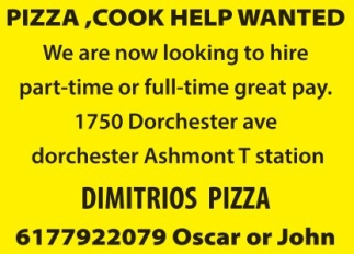 Pizza, Cook Help Wanted