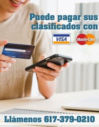 Puede pagar sus clasificados con VISA o MasterCard