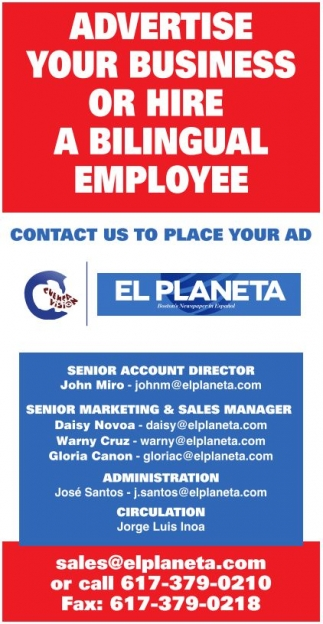 Contact Us to Place Your Ad