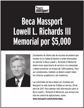Beca Massport Lowell L. Richards lll Memorial por $5000