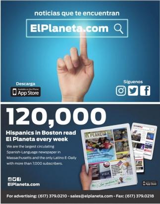 120,000 Hispanics in Boston read El Planeta every week