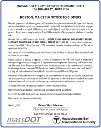 Boston, MA 02110 Notice to Bidders