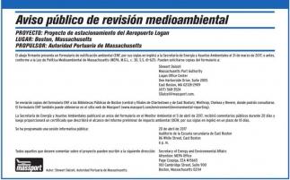 Aviso público de revisión medioambiental