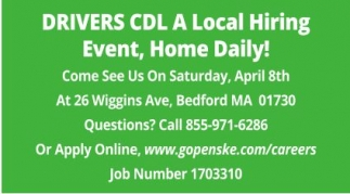 Drivers CDL A local Hiring Event, Home Daily