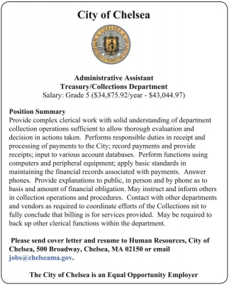 Administrative Assistant Treasury/Collections Department