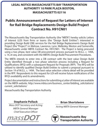 Public Announcement of Request for Letters of Interest for Rail Bridge Replacements Design Build Project