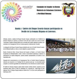 Banda y Cadetes del Buque Escuela Guayas participarán en Desfile de la Semana Hispana en Lawrence