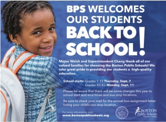 BPS Welcoes our students BACK TO SCHOOL!