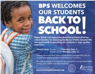 BPS Welcomes our students BACK TO SCHOOL!