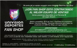 ¡UDN FAN SHOP ESTA CONTRATANDO AL MEJOR EQUIPO DE VENTAS!